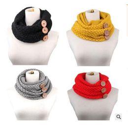 Wholesale Infinity Scarf Knitting - Scarf Brand Luxury Women Winter Warm Knit Infinity Button Scarfs Crochet Pattern Basic Chunky Big Button Knit Snood Ring Scarf Free Shipping