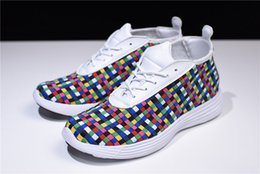 Wholesale rainbow rare - 2010 Lunar Chukka Woven+ Rainbow Sophnet Rare Tier Zero Lunar Chukka Woven Rainbow 398475-100 Sneakers Sports Shoes With Original Box