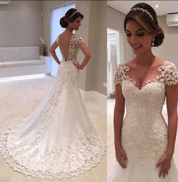 Wholesale Embroidery Trumpet Wedding Dress - 2018 Backless V neck Short Sleeve Pearls Beads Mermaid Wedding Dresses Custom Made Lace Embroidery Appliques Mermaid Bridal Gowns
