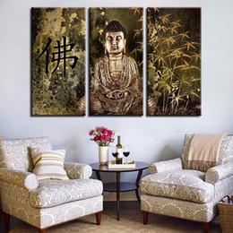 Dipinti su tela Living Room Decor 3 pezzi Statua di Buddha Immagini Stampe Wall Art Quadro retrò Vintage Bamboo Poster Quadro da