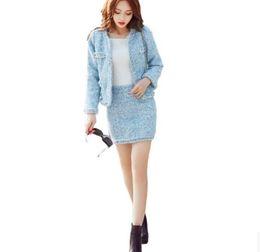 Wholesale Boutique Women S Dresses - Women winter woolen cotton jacket Dress set Boutique luxury Pearl bead Velvet fashion brand retro classic cute cashmere Set