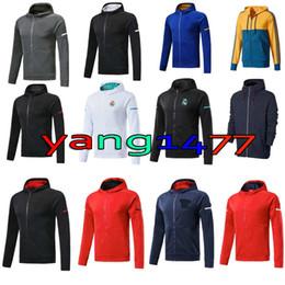 Wholesale Adult Sweater - 2018 Adults Soccer Jersey Jackets Sweaters RONALDO ROBBEN Tracksuit LEWANDOWSKI DYBALA HIGUAIN Zipper Men's Football Hoodies Sweatshirts