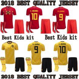 Jersey amarillo rojo online-2018 2019 Belgium INICIO KIT KIDS RED AWAY KITPANY DE BRUYNE E.HAZARD LUKAKU FELLAINI Camiseta de fútbol personalizada