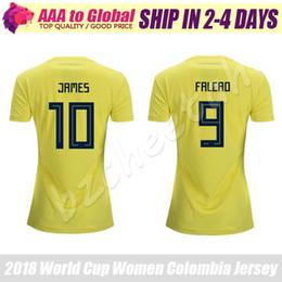 d67565bccc1 Women Colombia Jersey 2018 yellow lady Colombia FALCAO CUADRADO Women JAMES  Soccer Jerseys football shirt