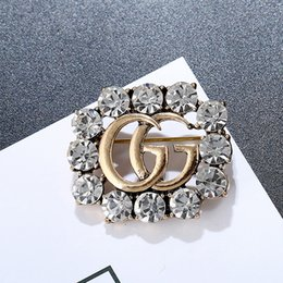Wholesale brooch rhinestones - Newest Luxury Brand Brooch Rhinestone Famous Designer Suit Lapel Pin for Women Jewelry Accessory with Fast Shipping