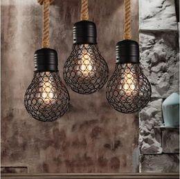 Vintage Seil Pendelleuchte Edison Birne American Style Metall Käfig Lampe  Restaurant Esszimmer Lichter Industrielle Bar Beleuchtung