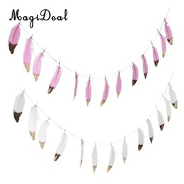 Wholesale White Bunting - Wholesale-2 set Boho Gold Dipped Pink  White Feather Bunting Tassel Garland Hanging Decor