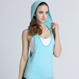 Wholesale Hooded Singlets - Summer Hollow Back Women Tank Tops Hooded Female Dry Quick Loose Fitness Vest Singlet for Exercise Women's Workout T-Shirts