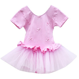 Wholesale Spandex Leotard Kids - Professional Girls Ballet Dance Clothing Children Round neck Bowknot Practice Dress Kids Gymnastics Leotard Ballet Dance Puff Princess Dress