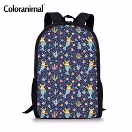 62a302105a Coloranimal Children Schoolbags Kids Backpack Bady Child Infant Corgi  Mermaid Print Teenager School Girl Satchel