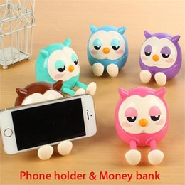 Wholesale Money Cute - Portable Cute Owl Phone Holder Mobile Cell Phone Stent Stand Money Box Coin Bank Storage Phone Holder