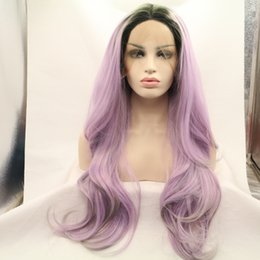 Wholesale Long Layered Wig - Fantasy Beauty Dark Roots Synthetic Lace Front Wig Long Wavy Purple Wigs Ombre #1B Purple Middle Part Layered Glueless Synthetic wigs For Bl