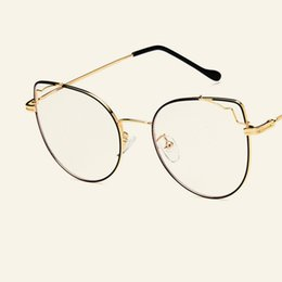 02091136db New Retro large frame cat eye flat mirror metal spectacle frame fashionable  personality spectacle frames for men and women.