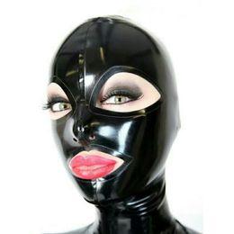 Maschera di catsuit online-Cappe in lattice puro al 100% apri EyesMouth per Catsuit Bella copricapo ragazza Gomma Fetish Mask Cosplay Party Wear Costumi fatti a mano