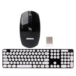 Wholesale Cute Mouse For Laptop - 2.4GHz Wireless Cute Round Key Quiet Keyboard Mouse Combo For Laptop Desktop PC - L059 New hot