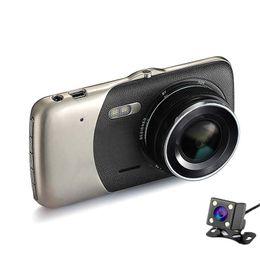 "Wholesale Dual Rear View Camera - Dual Lens Car Camera 4.0"" Full HD 1080P 170Degree Car DVR DVRs Recorder With Rear View Backup Camera G-sensor Dash Cam TF Card"