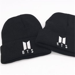 99da95a39fff3 BTS 2018 hot selling patch LOGO fashion funny SKULL stretch CAP Cuff Beanie  HAT for couples