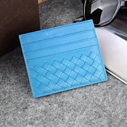 Wholesale Korean Designer Dresses - Genuine Leather Credit Card Holder Wallet Classic Weaving Designer Thin ID Card Case for Man Women 2018 New Fashion Coin Pocket Purses