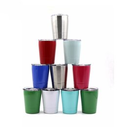 Wholesale portable keyboards - 8oz Stainless Steel Milk Cup Multi Color Vacuum Mug With Lids Outdoors Portable Wine Glasses 12 5hk C