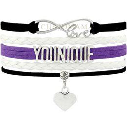 lila leder infinity armband Rabatt (10 Teile / los) Unendlich Liebe Younique Multilayer Wrap Armband Schwarz Lila Weiß Leder Armbänder Für Frauen Modeschmuck C18111601
