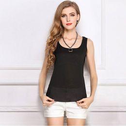 Wholesale Loose Crop Tank Top Wholesale - La MaxZa Chiffon Tank Tops Female Summer Sleeveless Sexy Camis Women Shirt Loose Casual Crop Clothing Plus Size Vest Blouse
