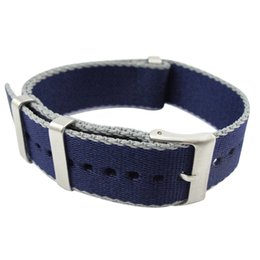 blue nato strap Promo Codes - Top Quality Dark Blue 20mm 22mm Watchband Nylon Nato Strap James Bond 007 Casual 30cm Watch Strap Sports Accessories