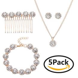 Set di gioielli da sposa creativi di cinque set di gioielli da sposa in stile europeo e americano da imitazione gioielli reali fornitori