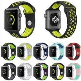 Smart Watch Sports band 38 42 40 44mm Correas de silicona Bandas de correas de doble color para iWatch Apple Watch 2 3 4 Reemplace Band 25colors GSZ464 desde fabricantes
