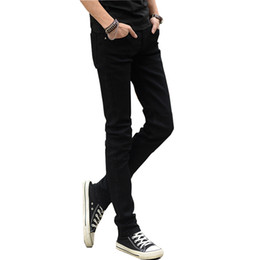 Muchachos pantalones negros flacos online-Diseñador de los hombres Jeans Summer Brand Stretch Casual Slim Leg Skinny Boys Hombre Yong Hombre Denim Trousers Men 's Black Jeans Hombre Hot