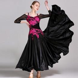 2019 catena di danza del ventre rosso abiti neri standard per il ballo da ballo waltz vestito da ballo moderno abiti da competizione ballo da sala abito Foxtrot
