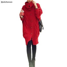 Qiukichonson Turtleneck örme kazak hırka kadınlar kış İngiltere tarzı tek göğüslü gevşek uzun kazak hırka kalın nereden