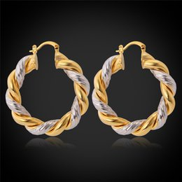 Wholesale Twisted Gold Plated Hoop Earrings - whole saleBig Twisted Hoop Earrings For Women Double Color Plated Wedding Earrings Large Vintage Retro Hoop 2016 Wholesale E683