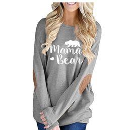Argentina Mamá Oso Camisetas gráficas para suéteres de monogramas de otoño parcheado para mamás Mamá Camisas Tallas grandes S-2XL Suministro