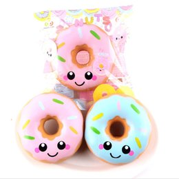Wholesale Rubber Face Doll - 2018 Donuts Squishy Toys Kawaii Smile Face Slow Rising Donut Jumbo Squeeze Phone Strap Stress Reliever Gift for Kids DHL