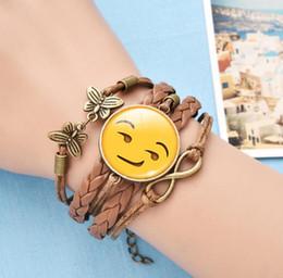 Wholesale Gem Weave - 2018 emoji Time gem Bracelet Fashion Leather Bracelet Snap Jewelry hand-woven Bracelets 45