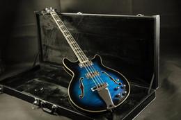 2019 jazz leggero blu Top ad arco in fiammato top semi-hollow body 4 corde basso elettrico basso elettrico Guitarra all color Accept