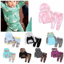Wholesale 18 Month Christmas Outfit - Kids Tops Pants Outfits Set Hoodie Cute Animals Kids Baby Clothes Set Warm Outfits Deer Baby Boys Girls Christmas Clothes 2pcs set KKA3660