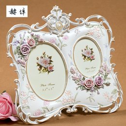 Wholesale Resin Photo Frame Picture - European pastoral white resin stereo relief double photo frame picture frame home decoration craft wedding supplies