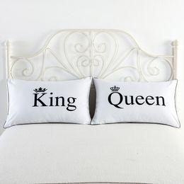 almohada real Rebajas Letter Royal Crown Fundas de almohada Queen King Design Funda de almohada Usa Queen Size Decorativo Pareja Shams Set 2 piezas