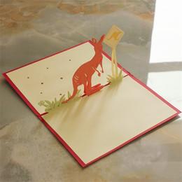 3d karten diy online-3D Grußkarten Känguru Originalität Reine Hand Diy Geburtstagskarte Aushöhlen Schnitzen Papier Hochzeitseinladungen 3 8ym gg