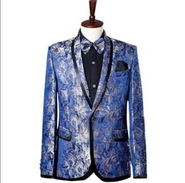 vêtements de mariage de style coréen Promotion Star style coréen stade bleu vêtements pour hommes costume de marié ensemble avec un pantalon 2018 costumes de mariage pour hommes costume chanteur cravate robe formelle