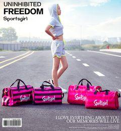 Wholesale travel shoe organizer bag - Pink Letter Stripe Fanny Pack Women Sports Outdoor travel duffle Handbags Cosmetic Bag fashion Totes shoes organizer bag 2styles FFA392 3pcs