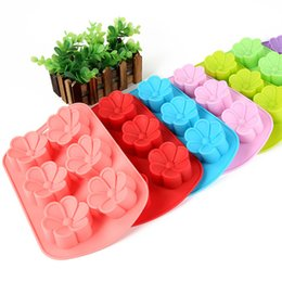 Wholesale silicone soap molds christmas - 1PC Flowers Silicone Muffin Cups Handmade Soap Molds Biscuit Chocolate Ice Cake Baking Mold Cake