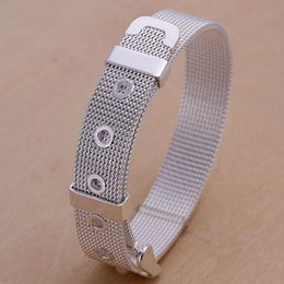 Wholesale Watch Lobster Clasp - 2018 New Fine 925 Sterling Silver Watch Belt Chain Bracelets & Bangle Jewelry Curb chain Link Toggle clasps Bracelet Gift for Lovers