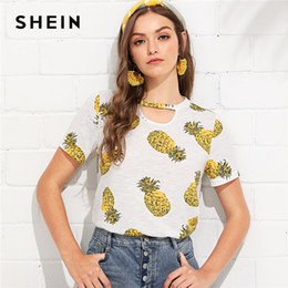 3cf572ed1155 SHEIN Multicolor Weekend Casual Pineapple Print Choker Neck Cut Out Short  Sleeve Tee Summer Women Going Out T-shirt Top discount going out shorts