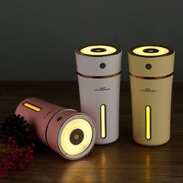 Humidificador de aire portátil recargable Humidificador de auto mini taza de color 300 ML con lámpara LED Difusor USB 500 mA Batería de litio incorporada desde fabricantes