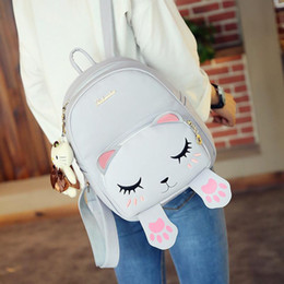 e71c6571619f Wholesale- Women`s Fashion Cat Backpack Black Preppy Style School Backpacks  Cute Animal Funny Quality Pu Leather Shoulder Bag Travel Black