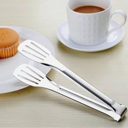 garfo clip Desconto Pinças de alimentos Em Aço Inoxidável Clipe de Alimentos para Churrasco Pinças Não-Stick Resistente Ao Calor Bolo Clipe Pão Salada Garfos Buffet ZA6026