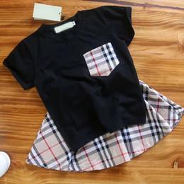 Wholesale child girl suit design - 2018 New Design Children Girls Sets Fashion Patchwork Pattern T-shirt + Skirt Suits Clothing For Girls Boys Summer wear