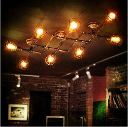 Wholesale Edison Style Ceiling Lights - Style Loft Industrial Retro Vintage ceiling Light For Home Lighting LED Edison Water Pipe Ceiling Lamp Luminaire Plafonnier